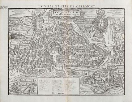 Antike Landkarten, de Belleforest, Frankreich, Auvergne, Clermont-Ferrand, 1575: La Ville et Cité de Clermot en Auvergne / La Ville et Cite de Clermont