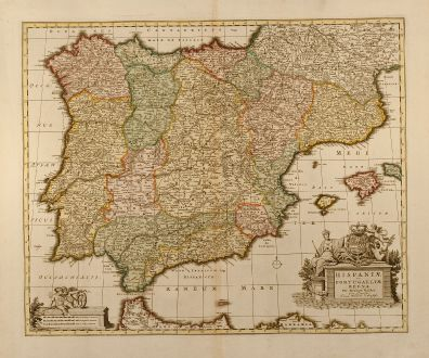 Antique Maps, Visscher, Spain - Portugal, 1720: Hispaniae et Portugalliae regna per Nicolaum Visscher