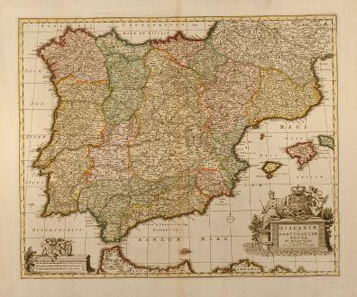 Antike Landkarten, Visscher, Spanien - Portugal, 1720: Hispaniae et Portugalliae regna per Nicolaum Visscher