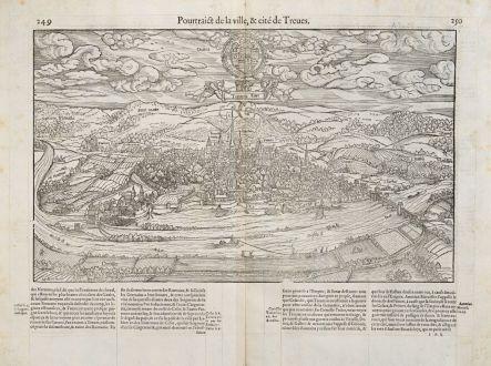 Antike Landkarten, de Belleforest, Deutschland, Rheinland-Pfalz, Trier, 1575: Pourtraict de la ville,& cité de Treves