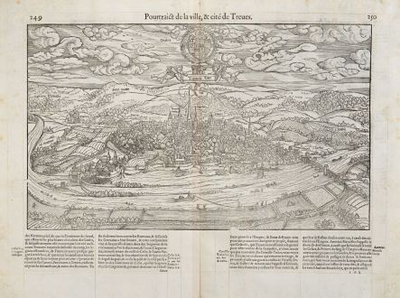 Antique Maps, de Belleforest, Germany, Rhineland-Palatinate, Trier, 1575: Pourtraict de la ville,& cité de Treves