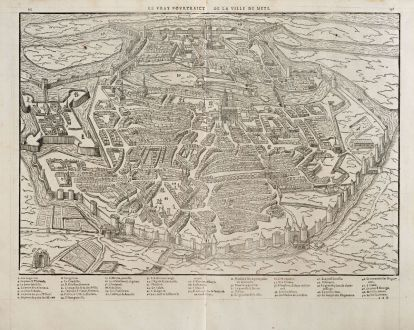 Antique Maps, de Belleforest, France, Lorraine, Metz, 1575: Le vray Pourtraict de la ville de Mets