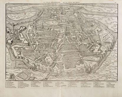 Antike Landkarten, de Belleforest, Frankreich, Lothringen, Metz, 1575: Le vray Pourtraict de la ville de Mets