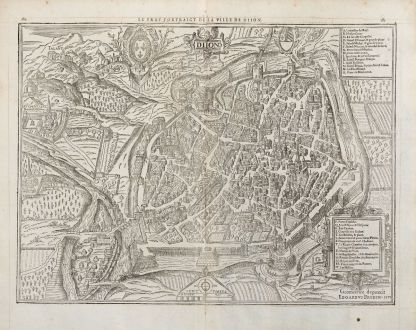 Antike Landkarten, de Belleforest, Frankreich, Bourgogne, Dijon, 1575: Le vray Pourtraict de la Ville de Diion