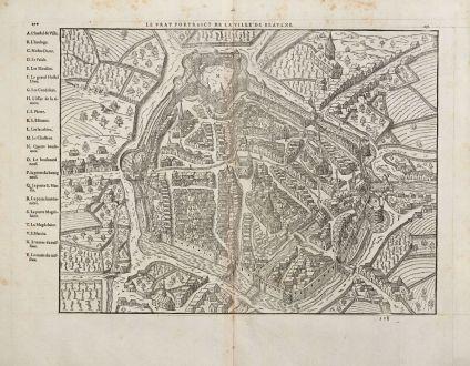 Antike Landkarten, de Belleforest, Frankreich, Bourgogne, Beaune, 1575: Le vray Pourtraict de la Ville de Beaulne