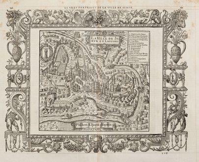 Antike Landkarten, de Belleforest, Frankreich, Bourgogne, Semur-en-Auxois, 1575: Le vray Pourtraict de la Ville de Semur / La Ville Semur en Laussois