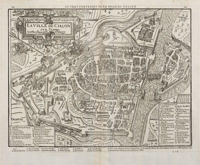 Antique Maps, de Belleforest, France, Bourgogne, Chalon-sur-Saone, 1575: La Ville de Chalon sur Saone / Le vray Pourtraict de la ville de Chalon