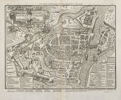 Antike Landkarten, de Belleforest, Frankreich, Bourgogne, Chalon-sur-Saone, 1575: La Ville de Chalon sur Saone / Le vray Pourtraict de la ville de Chalon
