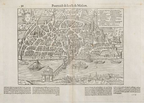 Antique Maps, de Belleforest, France, Bourgogne, Macon, 1575: Pourtraict de la ville de Mascon