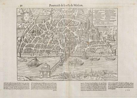 Antike Landkarten, de Belleforest, Frankreich, Bourgogne, Macon, 1575: Pourtraict de la ville de Mascon