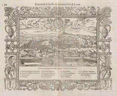 Antike Landkarten, de Belleforest, Frankreich, Lyonnais, Lyon, 1575: Pourtraict de la ville,& ancienne Cité de Lyon