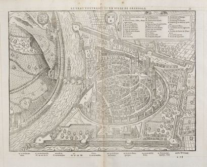 Antique Maps, de Belleforest, France, Rhone-Alpes, Grenoble, 1575: Le vray Pourtraict de la Ville de Grenoble