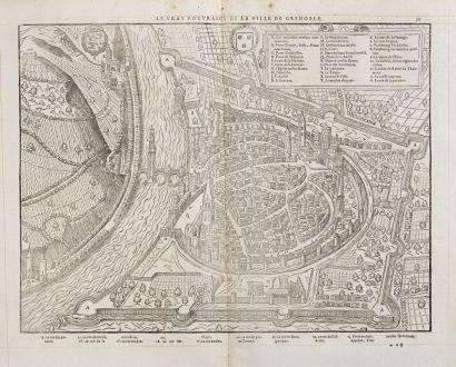 Antike Landkarten, de Belleforest, Frankreich, Rhone-Alpes, Grenoble, 1575: Le vray Pourtraict de la Ville de Grenoble