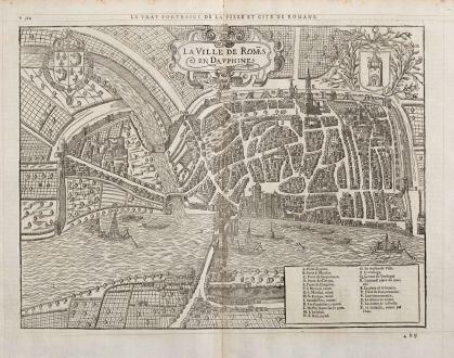 Antike Landkarten, de Belleforest, Frankreich, Dauphine, Romans-sur-Isere, 1575: La Ville de Romas en Dauphine / Le vray Pourtraict de la Ville et Cite de Romans