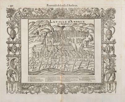 Antique Maps, de Belleforest, France, Dauphine, Embrun, 1575: Pourtraict de la ville d'Ambrun / La ville d'Ambrun en Dauphiné