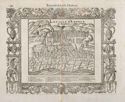 Antike Landkarten, de Belleforest, Frankreich, Dauphine, Embrun, 1575: Pourtraict de la ville d'Ambrun / La ville d'Ambrun en Dauphiné