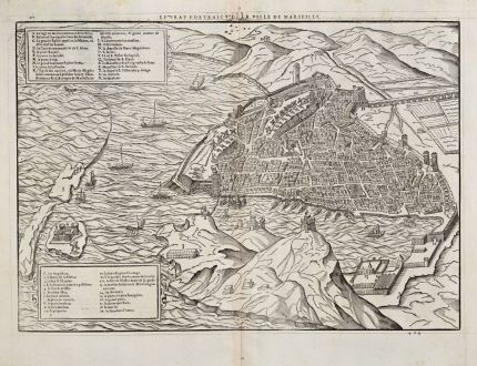 Antique Maps, de Belleforest, France, Provence, Marseille, 1575: Le Pourtraict de la Ville de Marseille