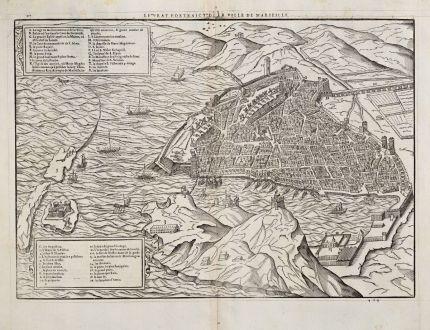 Antike Landkarten, de Belleforest, Frankreich, Provence, Marseille, 1575: Le Pourtraict de la Ville de Marseille