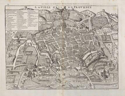 Antique Maps, de Belleforest, France, Provence, Aix-en-Provence, 1575: Le vray Pourtraict de la Ville d'Aix en Provence