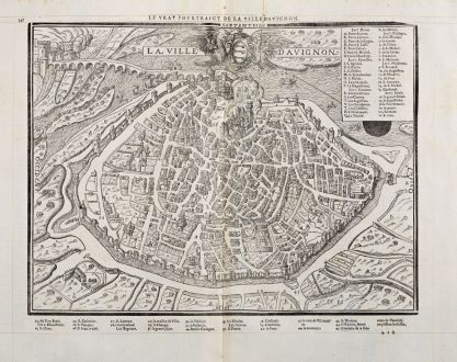 Antique Maps, de Belleforest, France, Provence, Avignon, 1575: Le vray Pourtraict de la Ville d'Avignon