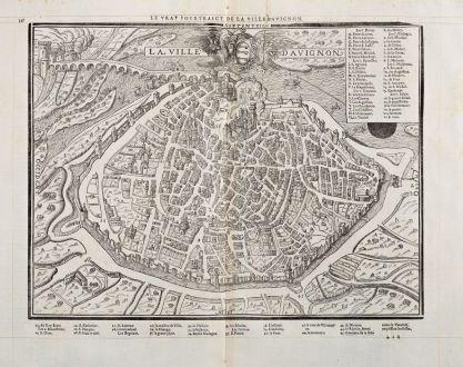 Antike Landkarten, de Belleforest, Frankreich, Provence, Avignon, 1575: Le vray Pourtraict de la Ville d'Avignon