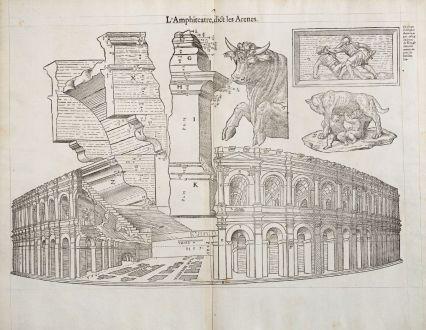 Antike Landkarten, de Belleforest, Frankreich, Languedoc, Nimes, Amphitheater: L'Amphiteatre, dict les Arenes