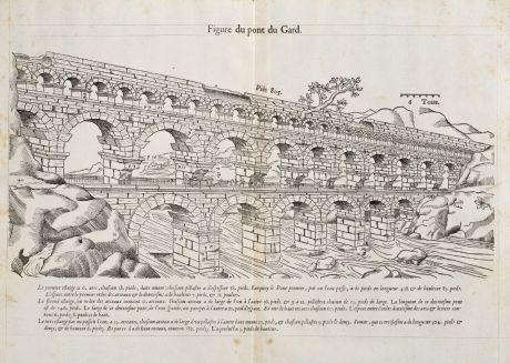 Antike Landkarten, de Belleforest, Frankreich, Languedoc, Nimes, Pont du Gard: Figure du pont du Gard