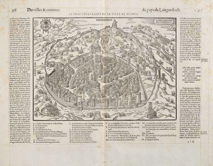Antike Landkarten, de Belleforest, Frankreich, Languedoc, Nimes, 1575: La vray Pourtraict de la Ville de Nismes / Nismes come elle est à present