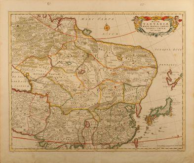 Antike Landkarten, de Wit, Asien Kontinent, Japan, Korea, Russland, 1670: Magnae Tartariae, Magni Mogolis Imperii, Iaponiae et Chinae, Nova Descriptio