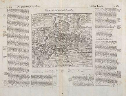 Antike Landkarten, de Belleforest, Frankreich, Languedoc, Midi-Pyrenees, Moissac: Pourtraict de la Ville de Moissac