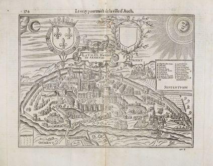 Antique Maps, de Belleforest, France, Languedoc, Midi-Pyrenees, Auch, 1575: Le vray Pourtraict de la Ville d'Auch / La Ville d'Auch en Armignag