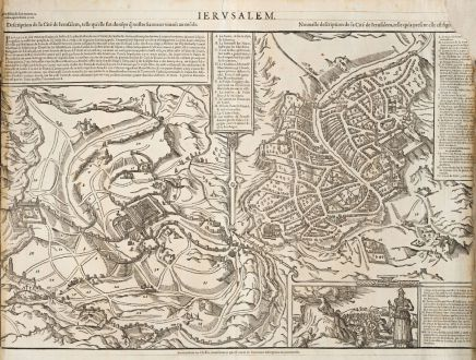 Antique Maps, de Belleforest, Holy Land, Jerusalem, 1575: Ierusalem / Description de la Cité de Ierusalem... / Nouvelle description de la Cite de Ierusalem...
