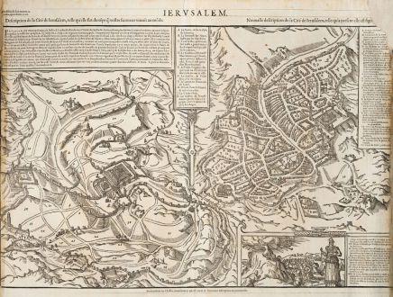 Antique Maps, de Belleforest, Holy Land, Jerusalem, 1575: Ierusalem / Description de la Cité de Ierusalem... / Nouvelle description de la Cite de Ierusalem...