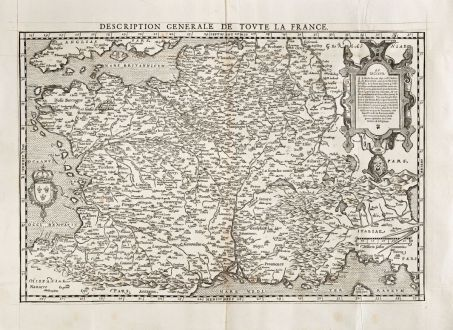 Antike Landkarten, de Belleforest, Frankreich, 1575: Description Generale de Toute la France