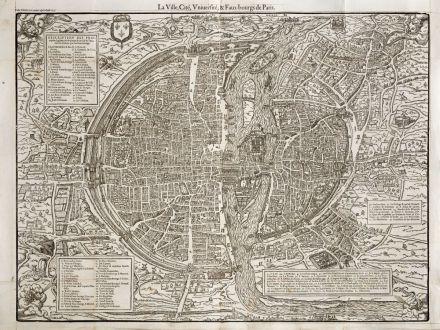 Antique Maps, de Belleforest, France, Paris, 1575: La Ville, Cité, Université,& Faux-bourgs de Paris