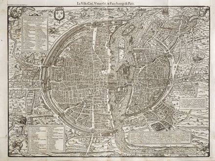 Antike Landkarten, de Belleforest, Frankreich, Paris, 1575: La Ville, Cité, Université,& Faux-bourgs de Paris