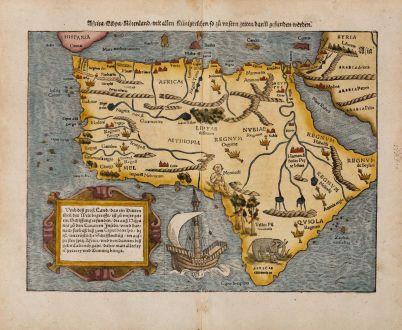 Antike Landkarten, Münster, Afrika Kontinent, 1540 (1574): Africa Lybia Morenlandt mit Allen Künigreichen so zu unsern zeiten darin gefunden werden.