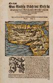 Kolorierte Holzschnitt-Landkarte des afrikanischen Kontinents. Gedruckt bei Heinrich Petri im Jahre 1574 in Basel.