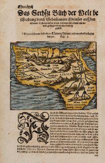 Antike Landkarten, Münster, Afrika Kontinent, 1574: Affrica mit seinen Besondern Laendern, Thieren, und wunderbarlichen dingen.
