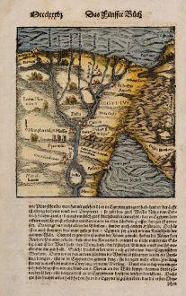 Antike Landkarten, Münster, Ägypten, Nil, 1574: [Nile River delta]