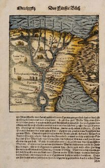Antique Maps, Münster, Egypt, Nile River, 1574: [Nile River delta]