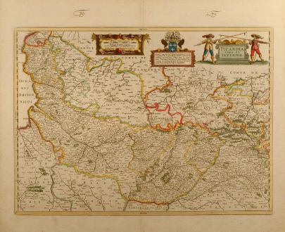 Antique Maps, Janssonius, France, Northwest France, Normandy, 1650: Picardia vera et inferior