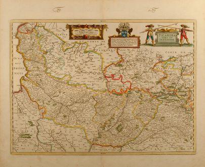 Antike Landkarten, Janssonius, Frankreich, Nordwest Frankreich, Normandie, 1650: Picardia vera et inferior