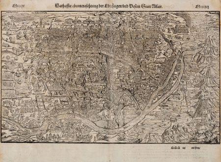 Antike Landkarten, Münster, Ägypten, Kairo, 1574: Warhaffte abcontrafehtung der Mechtigen und Vesten Statt Alkair