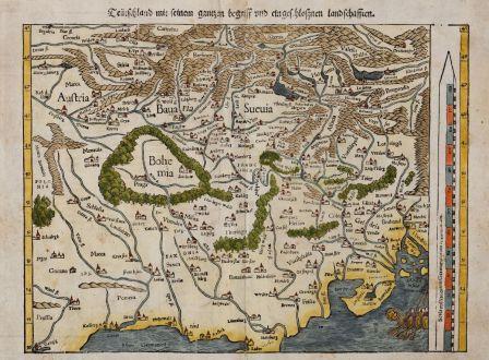 Antike Landkarten, Münster, Deutschland, 1550: Teütschland mit seinem gantzen begriff und eingeschlossnen landschafften