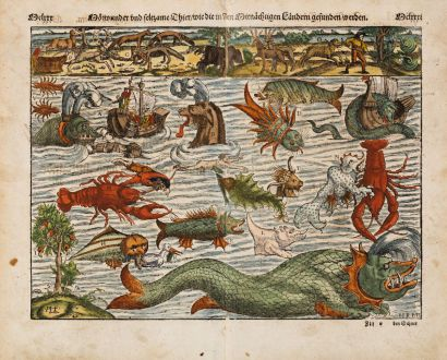 Antike Landkarten, Münster, Seeungeheuer, 1574: Mörwunder und seltzame thier, wie die in Mitnächtigen ländern gefunden werden
