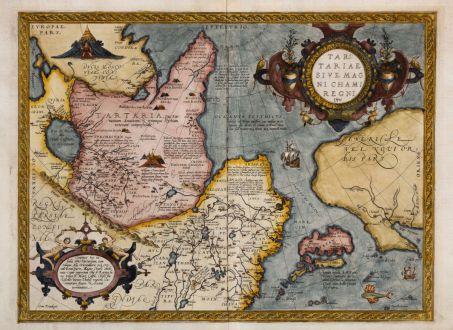 Antique Maps, Ortelius, Russia, Tartary, 1570: Tartariae sive Magni Chami Regni Typus
