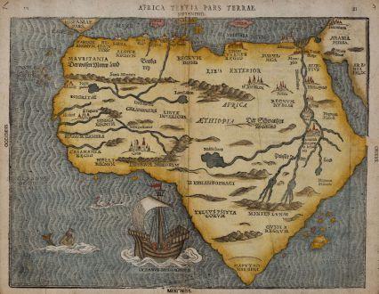 Antike Landkarten, Bünting, Afrika Kontinent, 1581: Africa Tertia pars Terrae