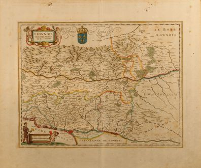 Antique Maps, Janssonius, France, Lyon, 1650: Lionnois, Forest, Beauiolois et Masconnois