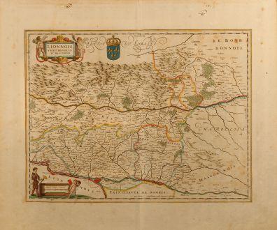 Antike Landkarten, Janssonius, Frankreich, Lyon, 1650: Lionnois, Forest, Beauiolois et Masconnois
